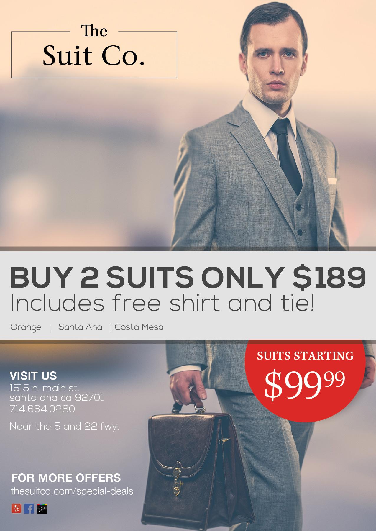 Buy 2 Suits for $189 with Free Shirt & Tie