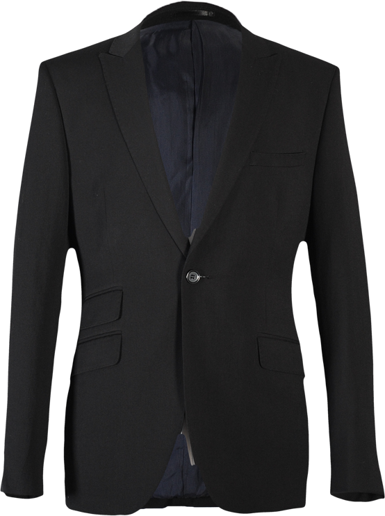 A black men's suit by Roberto Bassi with ticket pockets and a very slim cut style.