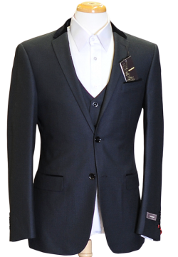An elegant velvet collar 3 piece suit with flat front pant