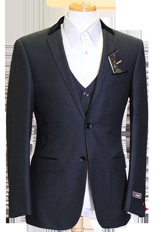 An elegant velvet collar 3 piece suit with flat front pant
